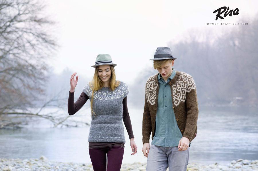 Fotoshooting für den Winterkatalog der RISA Hutwerkstatt - Pullunder Snjó - Strickjacke Sjón / Lopi 30