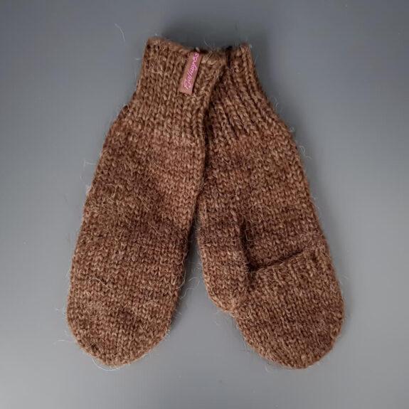Handschuhe mit Klappe - braun